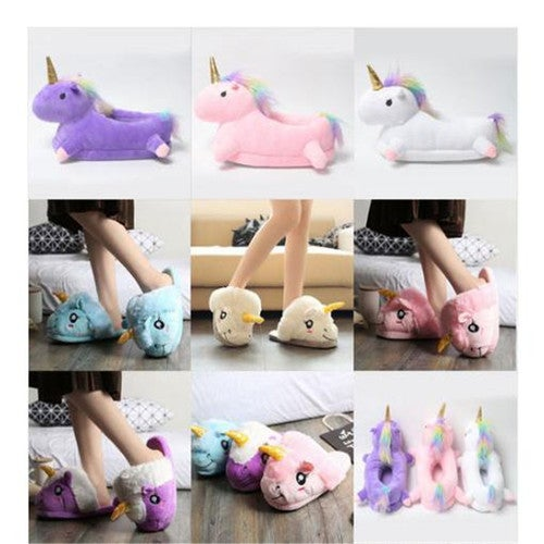 Unicorn Women Winter Home Slippers Soft Couple Cotton Indoor Shoes