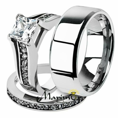 His & Her 3pc Stainless Steel 2.10 Ct Cz Bridal Ring Set & Men Beveled Edge Band