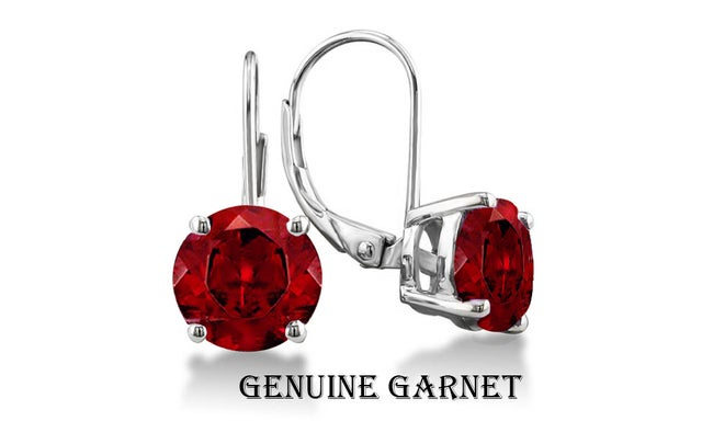 Stunning 2.00 CTTW 18K White Gold Plated Genuine Garnet Leverback Earings