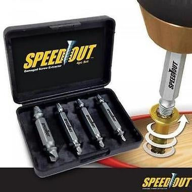 New Speed Out 4pcs Damaged Screw Extractor Use With Any Drill As Seen On TV Spee