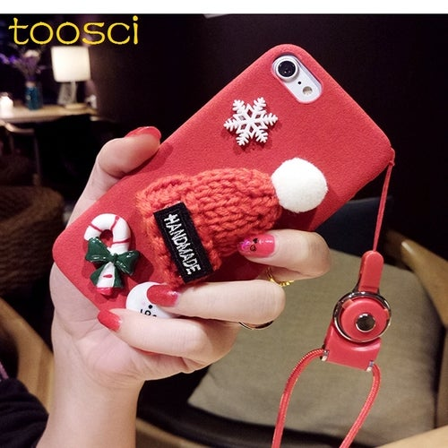 RED hat snow phone case for iphone 7/8 plus with rope portable take outdoor home cute cover