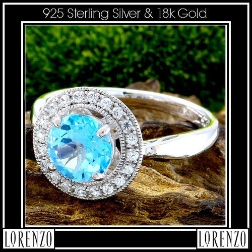 .925 Sterling Silver& 18k White Gold, Genuine Ice Blue Color Topaz & White Sapphire Ring Size: 6.5 Designed by High-End Designer ColoreSG Lorenzo LGlam7047q Glamouresq.com