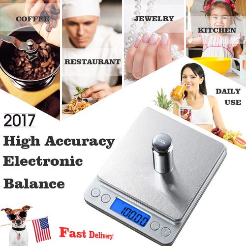 Digital Food Scale Electronic Black Kitchen Scale For Cooking & Baking with LCD Display
