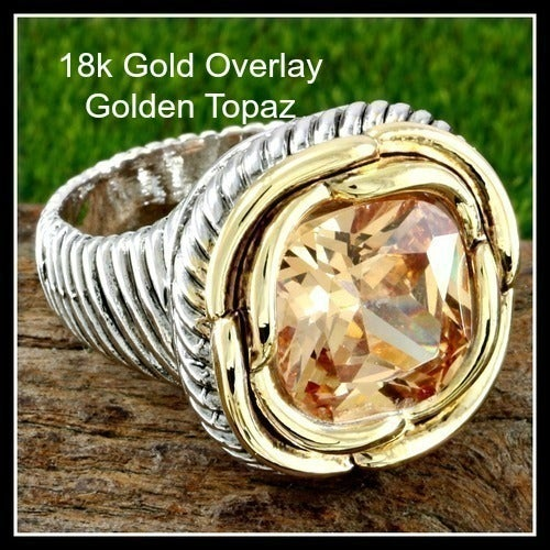Designer Two-Tone, 8.95ctw Beautifully Created Fine Golden Topaz Large Ring