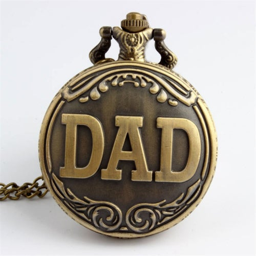 Brown Retro Big Face Dial Pocket Watch DAD Gift Long Chain Watch