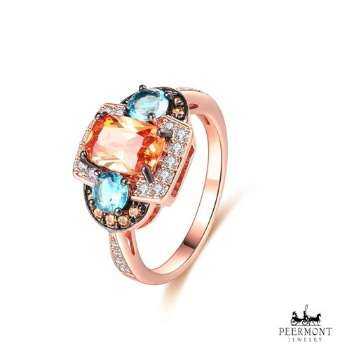 Rose Gold Plated Blue & Champagne Cubic Zirconia Ring