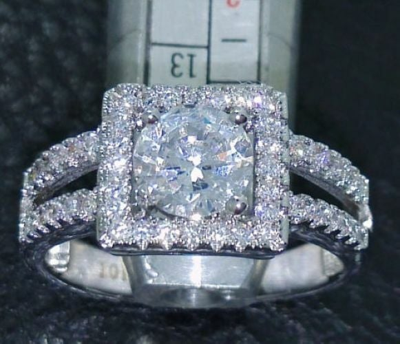 Jewelry B29 Womens White Gold Filled CZ Ring Set
