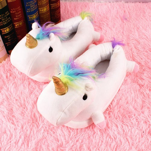 Winter Lovely Home Flock Latex Solid Indoor Plush Unicorn Slippers House Mules