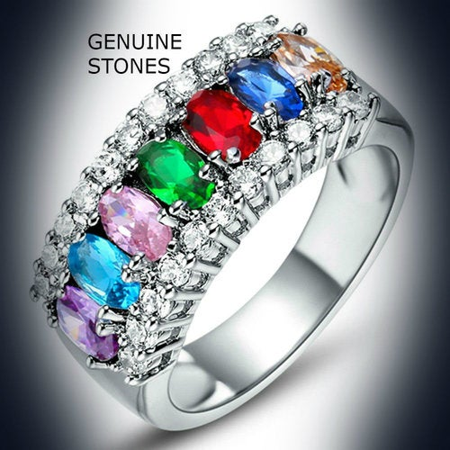 18kt White Gold plated Genuine Multi Colored Ring