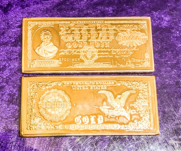 1 Troy Oz. .999 Pure 1882 $10,000 Gold Certificate Andrew Jackson Bullion Bar (Copper Minted)