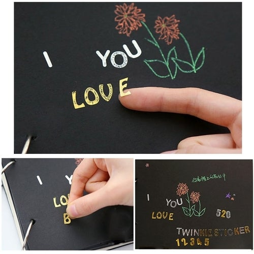 2PCS Bronzing Alphabet Stickers Digital Characters Letters Home Decoration English Diy Wall Stickers , Random Color Delivery