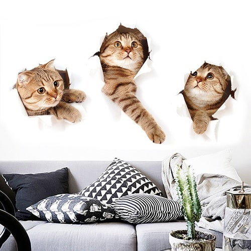 Home 3D Cute Cat Wall Sticker Wall Decor (Size: One Size, Color: Yellow)