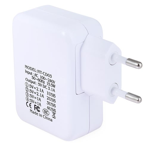 EU Plug 4 USB Ports Home Wall Power Supply Charger Adapter