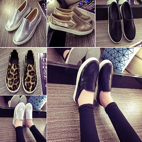 Women's Fashion Flat Shoes Casual Faux Leather Thick Soled Round Shoes