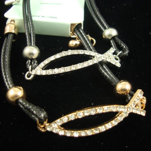 Religious Bracelet faux leather Cord Crystal