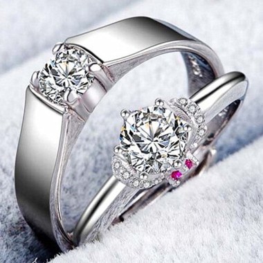 2 Rings Zircon Engagement Fashion Rings Size can adjust