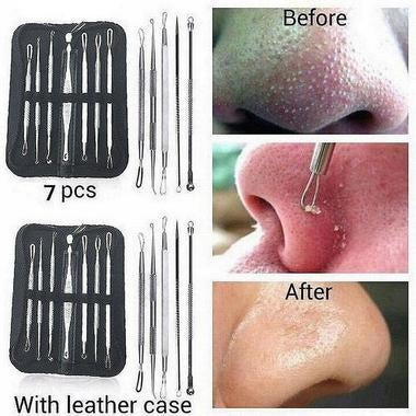 New 7PCS Blackhead whitehead Pimple Acne Blemish Extractor remover Stainless