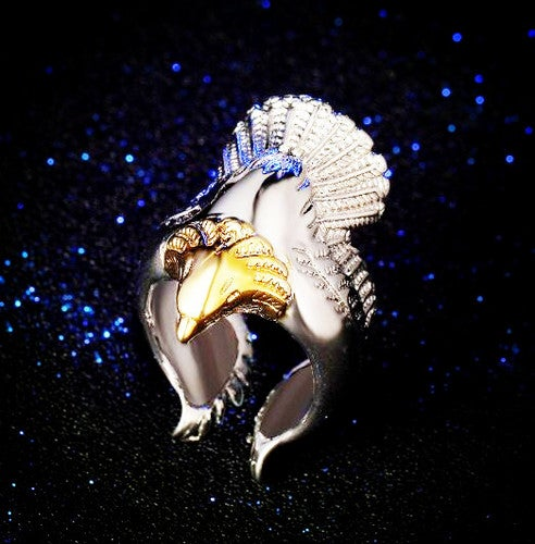 Adjustable Silver Plated Vintage Retro Ring Punk Eagle Bird Wing Open Band Ring