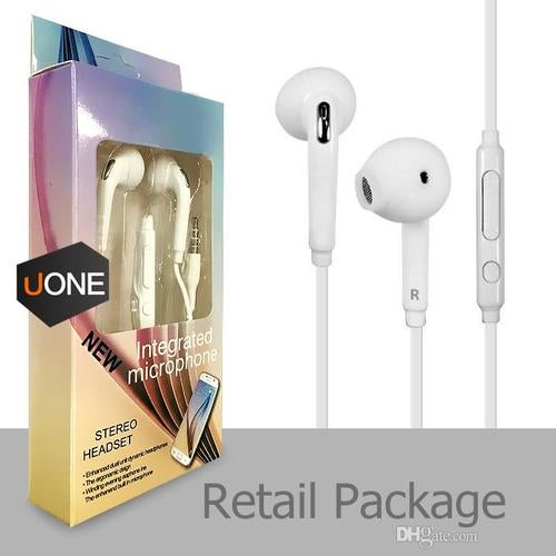 UNIVERSAL  Earphones J5 Headphones Earbuds iPhone  Headset for Jack In Ear wired With Mic Volume Control 3.5mm White With RetailBox