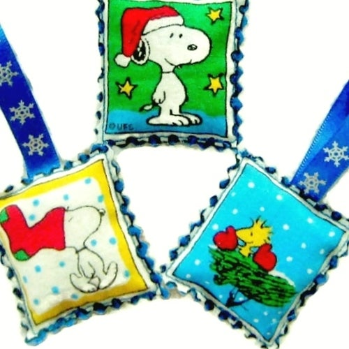 Snoopy And Woodstock Christmas Ornaments.Snoopy And Woodstock Christmas Ornament Set Of 3 Tophatter