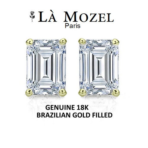 Luxurious HandCrafted 18K Brazilian Gold Filled Baguette Cut Stud Earrings