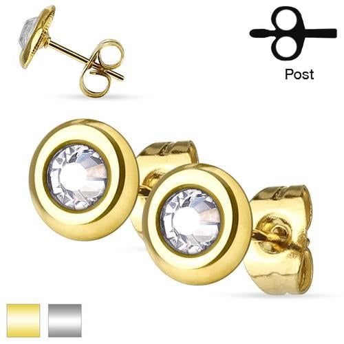 Pair of Clear Crystal Set Disc 316L Surgical Steel Ear Studs