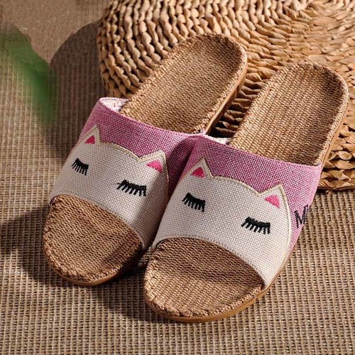 New 2017 Anti Slip Summer Indoor Slippers High Quality Flax Linen Home Shoes Men Women Slippers