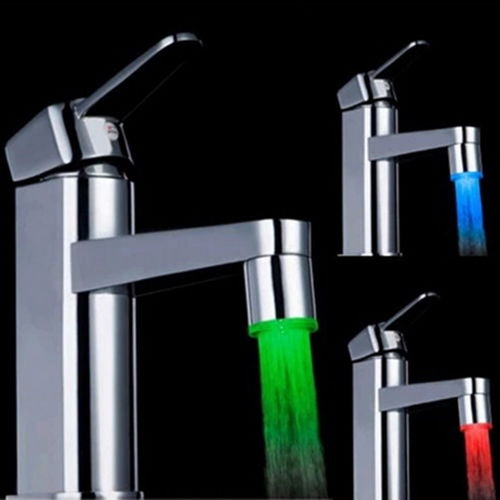 Colorful LED Light Water Shower Spraying Head Faucet Bathroom UE