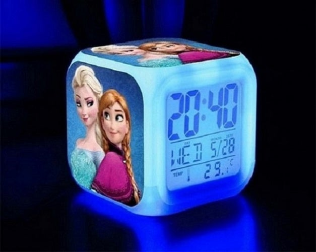NEW Frozen 7 Color Changing LED Digital Alarm Clocks For Grils Kids & Christmas Gift