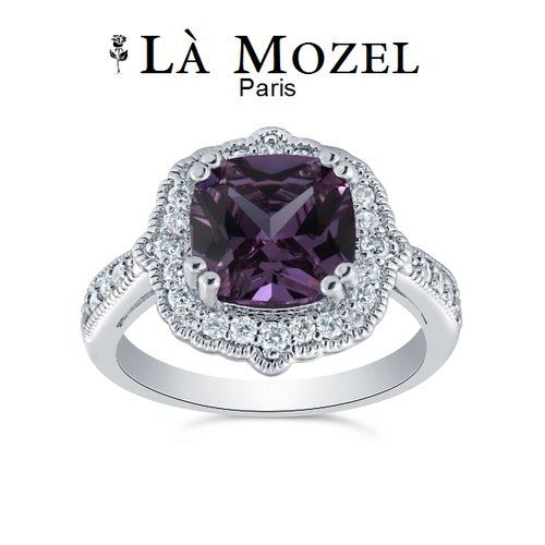 4.00 Carat Cushion Cut Genuine Purple Amethyst Ring