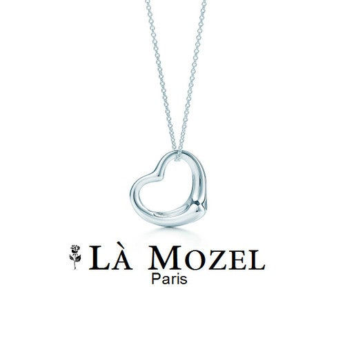 "Stunning Floating 18K White Gold Heart Pendant With 18"" Necklace"