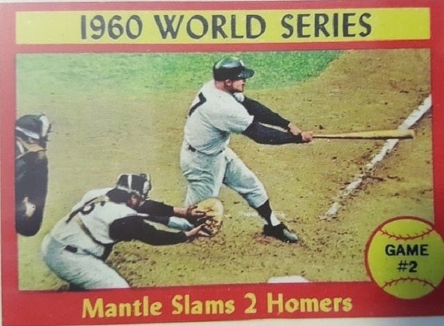 Reprint MICKEY MANTLE 1961 Topps #307 WORLD SERIES TWO HOMERS Baseball Card MINT ***WOW***