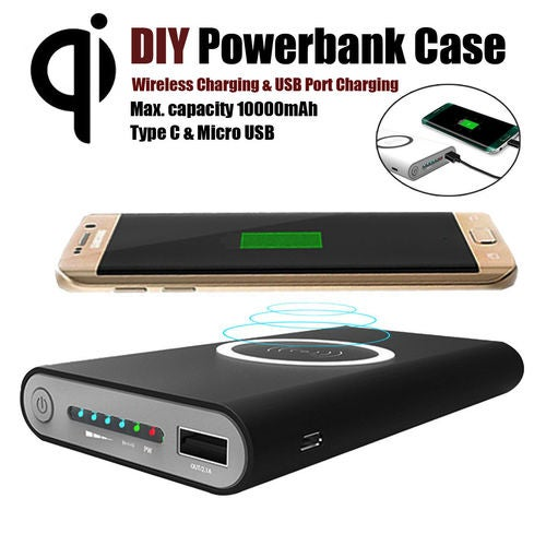 QI Power Bank DIY Case Kit Fast Wirelees Charger For iPhone Samsung iOS Android 10000mAh