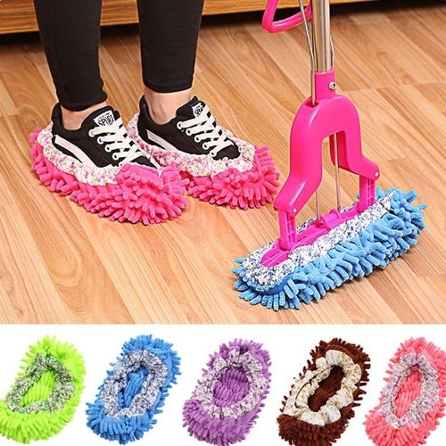 Relaxed Lazyboots Mopping Chenille Home Adult's Cleaning Slippers Shoe Cover Mop Slipper Floor Polishing Cover Cleaner Dusting Cleaning House Foot Shoes