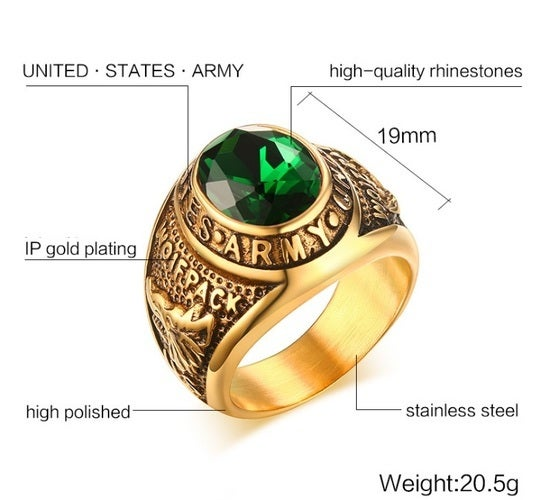 USA Army statement ring. Wolf pack. Great quality. Never fade technology. Awesome gift for yourself or your loved ones. Rich colors and with a perfect blend of Gold, Green, And Black. Just an awesome piece.  USA vendor. Limited inventory.