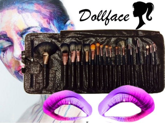 Dollface 20 piece deluxe brown suede professional brush set & travel wrap