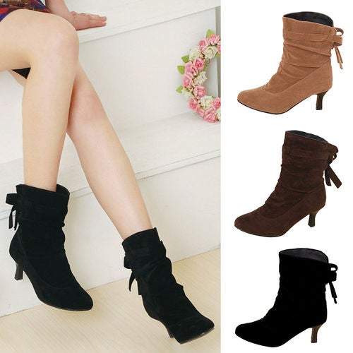 Womens Slouch Stiletto Lace up High Heels Ladies Pull on Ankle Boots Shoes Size
