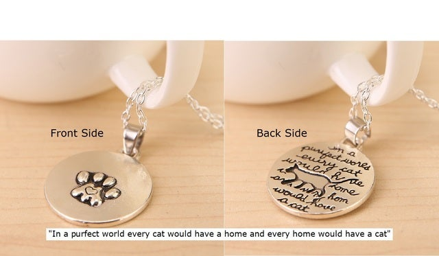Great Quality - Silver Double Sided Cat Home Pendant and Bonus Paw Prints on My Heart!