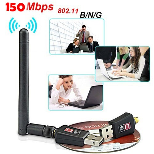 150 Mbps Mini Wireless USB WiFi Network Adapter LAN Card w/Antenna 802.11N For PC