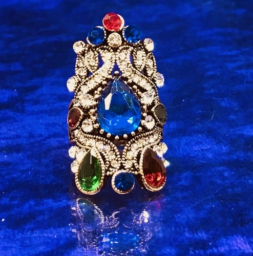 Swarovski Colorful Crystal Antique Gold Mid Finger Statement Ring Sizes 7- 9