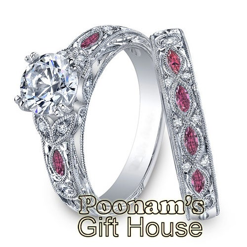 Marquise Shaped dark Pink Side CZ Engagement Ring