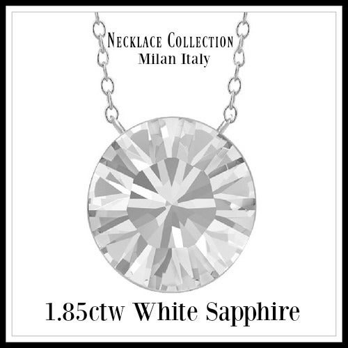 14k White Gold Filled White Sapphire Necklace SM946