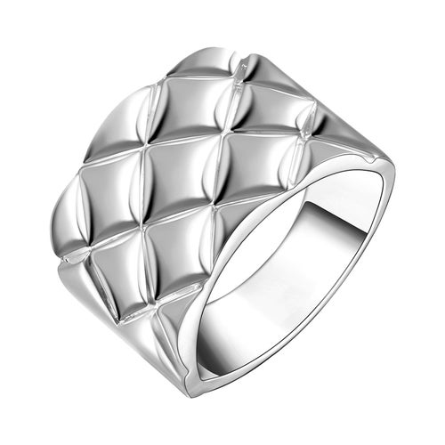 Rhombus Lattice Ring Silver Plated Wedding Bands Engagement Gift Fashion Jewelry Sets For Women Lady R090-8