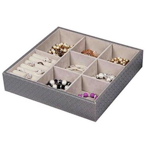 Home Basics DR49343 Large Faux Jewelry Organizer - Gray