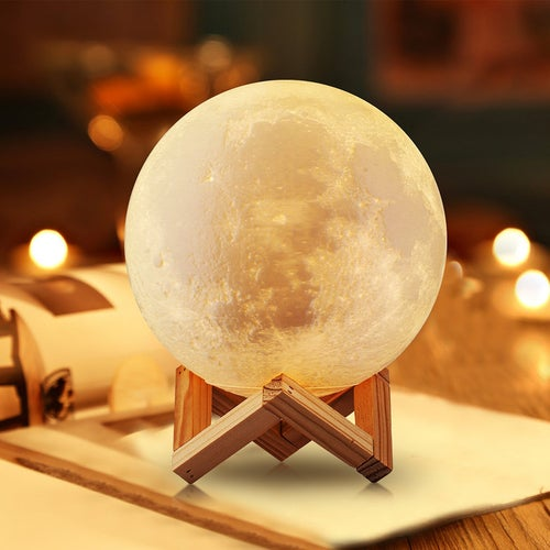 3D Printing Moon Lamp Night Light Warm and White Touch Sensor Control Adjustable Brightness Dimmable USB Rechargeable Home Decorative Light