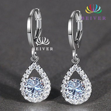 Luxury Clear Water Drop AAAAA CZ Earring in White Gold Filled for Women Comes wi