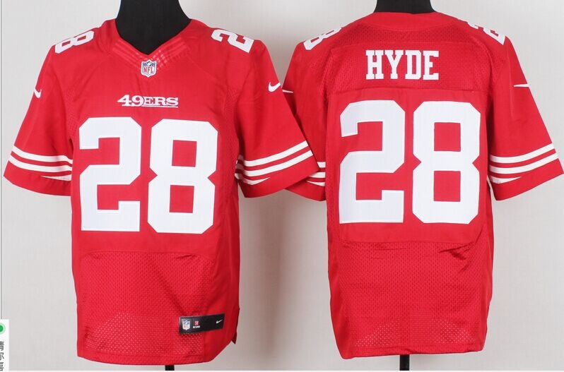 49ers #28 hyde red elite jersey Mens