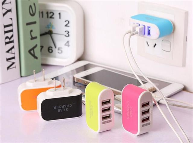 Universal 3.1A 3 Port Charging Adapter Travel Wall Home Charger With LED Light