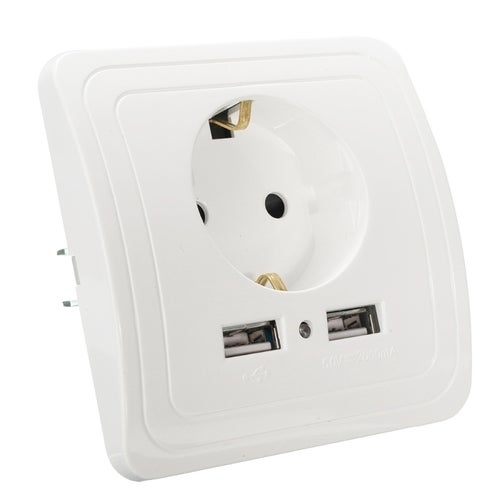 DIXINGE 2A Dual USB Port Wall Charger Adapter 16A EU Plug Socket Power Outlet Panel