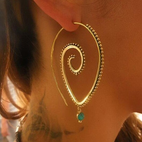 Vintage Fashion Jewelry Spiral Indian Ethnic Tribal Hoop Earrings Unique Design